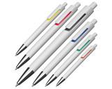 Balpen van wit kunststof met gekleurde applicaties