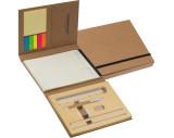 Schrijfmap met kartonnen kaft, lineal,schrijfblok en zelfklevende memoblaadjes